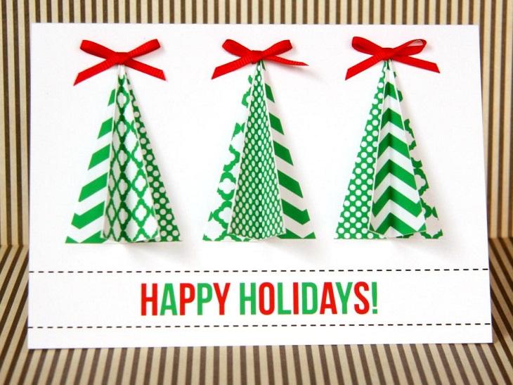 tarjetas navidad tres arboles navidad verde blanco ideas