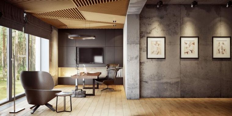 techo listones madera hormigon espacios