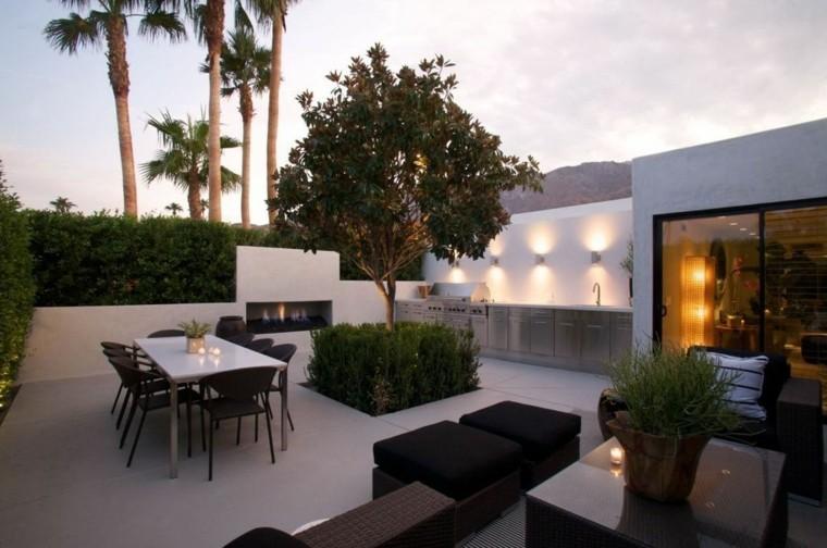 terraza amplia cocina muebles acero comedor salon estilo moderno