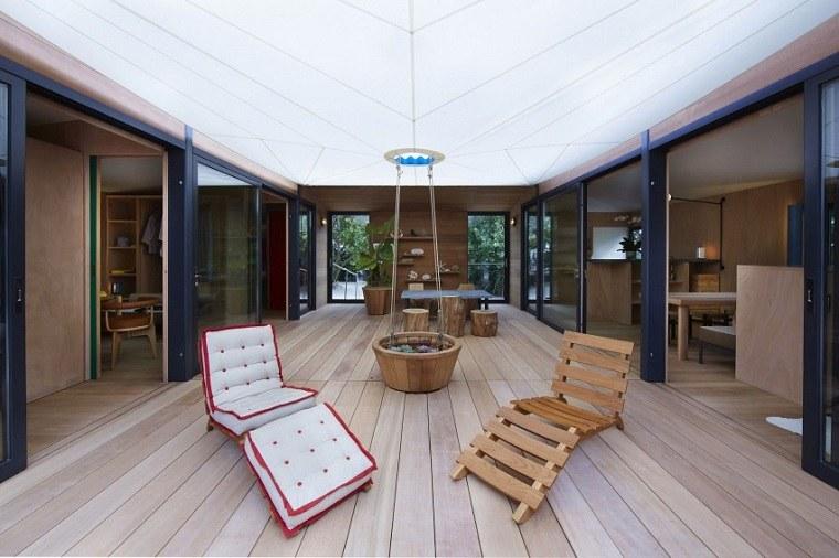 terraza suelo madera techo opciones diseno moderno