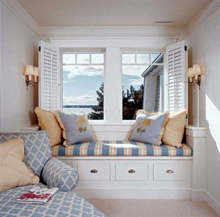 ventanas modernas con asiento cojines