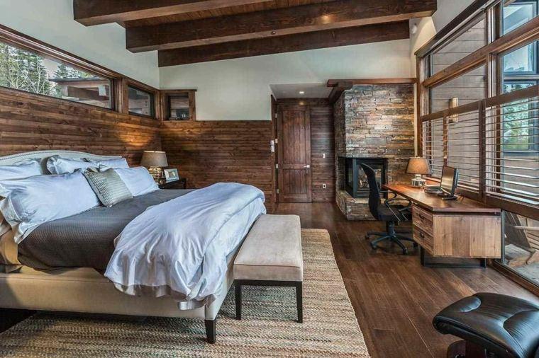 vigas madera pared dormitorio escritorio diseno amplio ideas