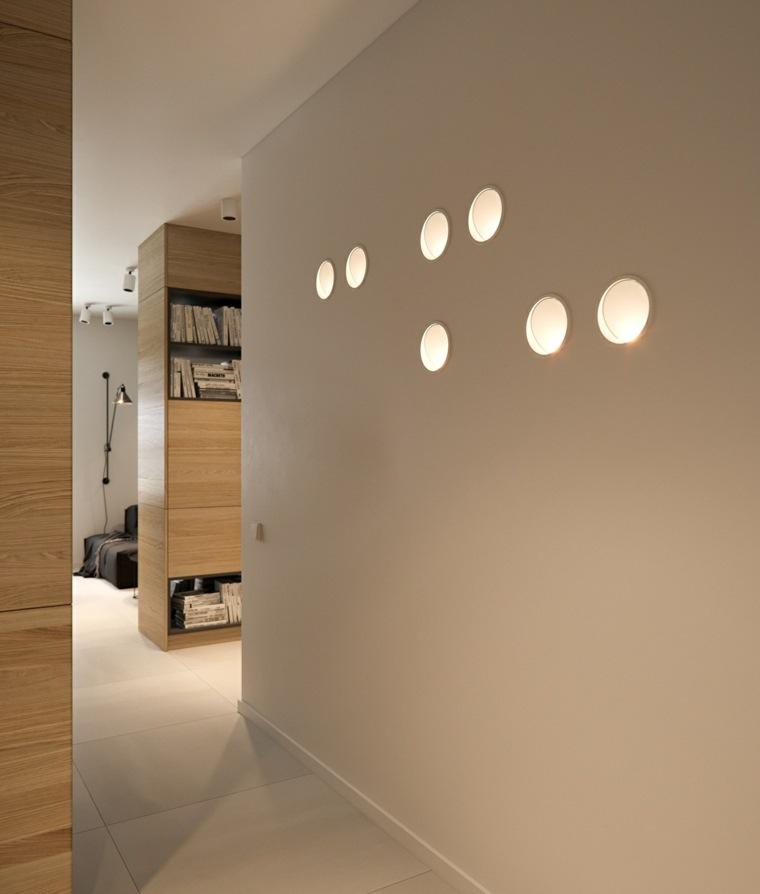 pared pasillo luces incrustadas