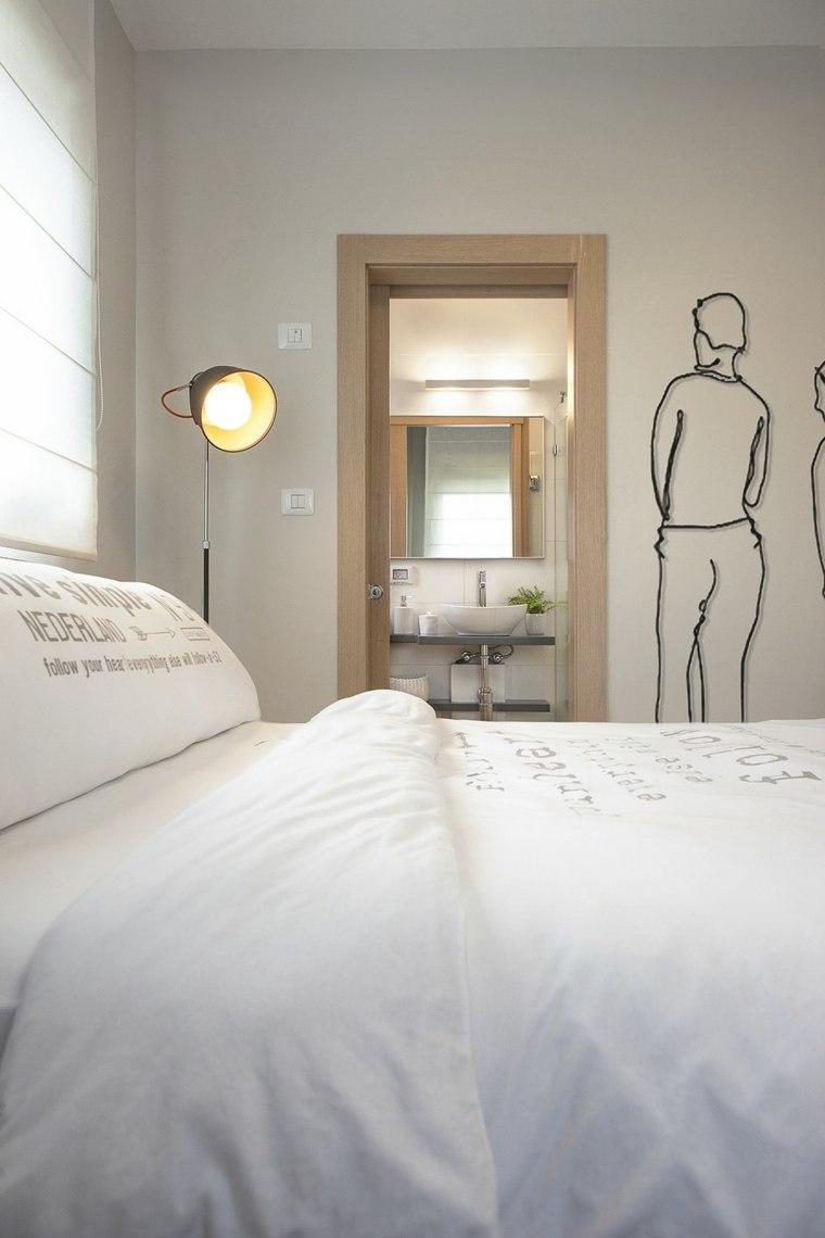 decoracion pisos pequenos dormitorio cama pared