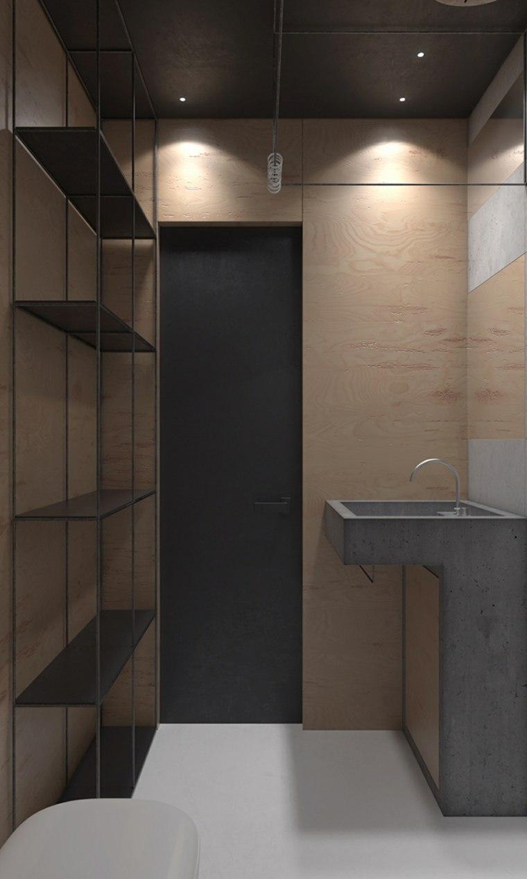 baño moderno estantes abiertos