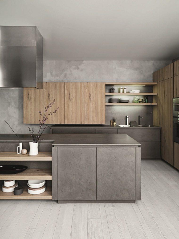 acero madera estilo cafe cocina casas