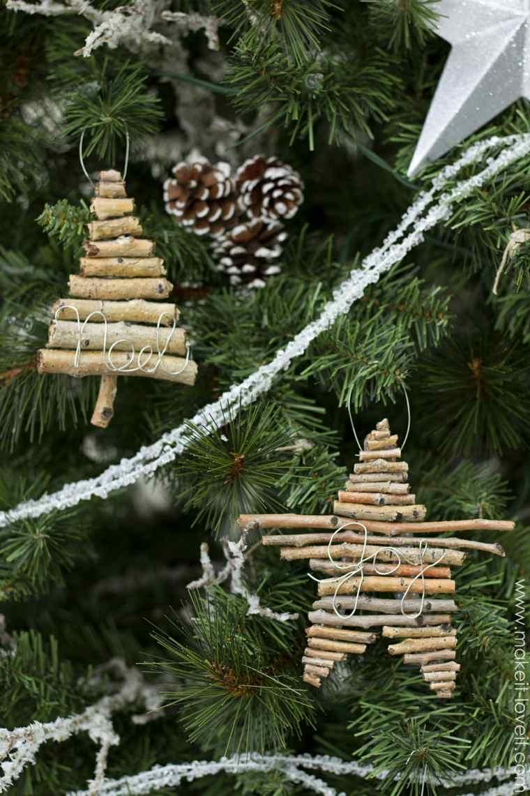 adornos Navidad colgantes ramitas abeto