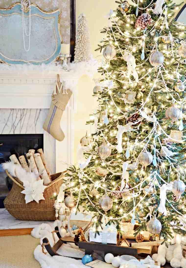 arbol navidad chimenea iluminacion bonita ideas