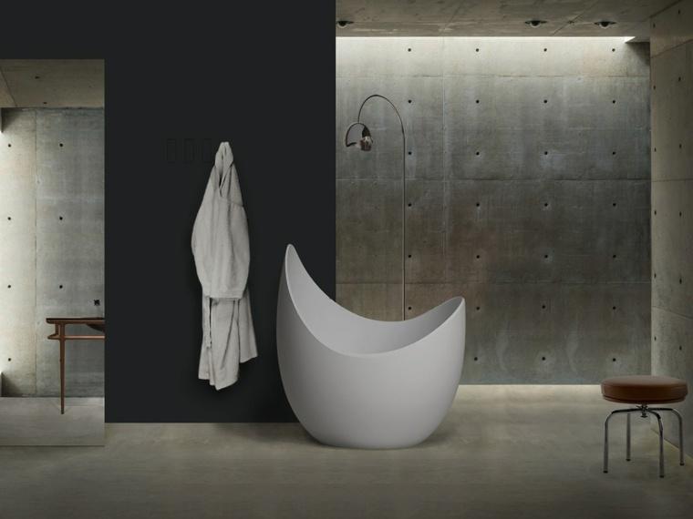 baños con encanto hormigon paredes sillas