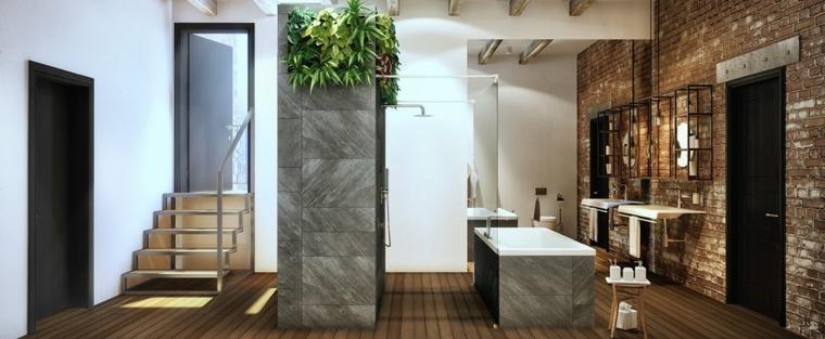 baños con encanto ladrillos paredes colgantes