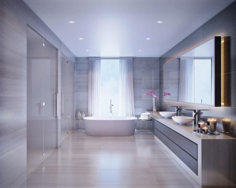 baños con encanto lineas led materiales flores