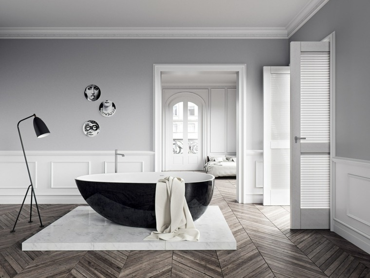 baños con encanto madera bnancpo negrop lamparas