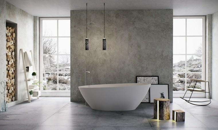 baños con encanto madera muros estantes