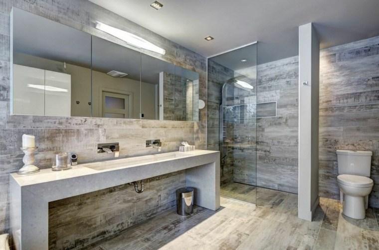 banos con ducha diseno lavabo hormigon ideas