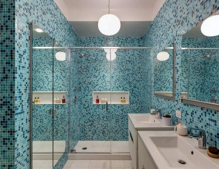 banos con ducha diseno mosaico azul ideas