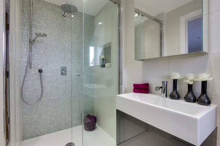 banos con ducha diseno mosaico pared blanco ideas