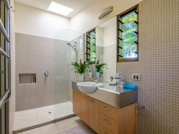 banos con ducha diseno opciones lavabo madera ideas