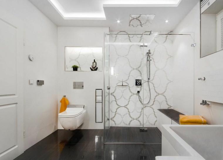 banos con ducha diseno pared mosaico ideas