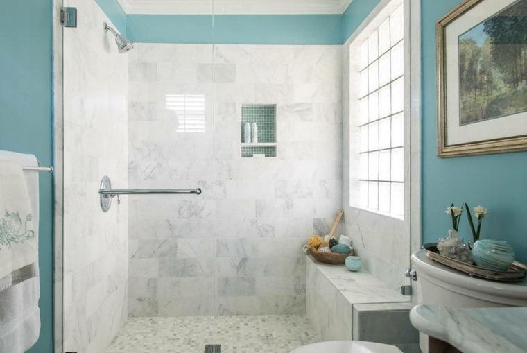 banos con ducha diseno paredes marmol ideas