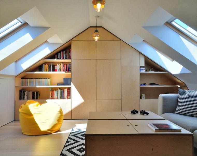 vivienda moderna biblioteca integrada