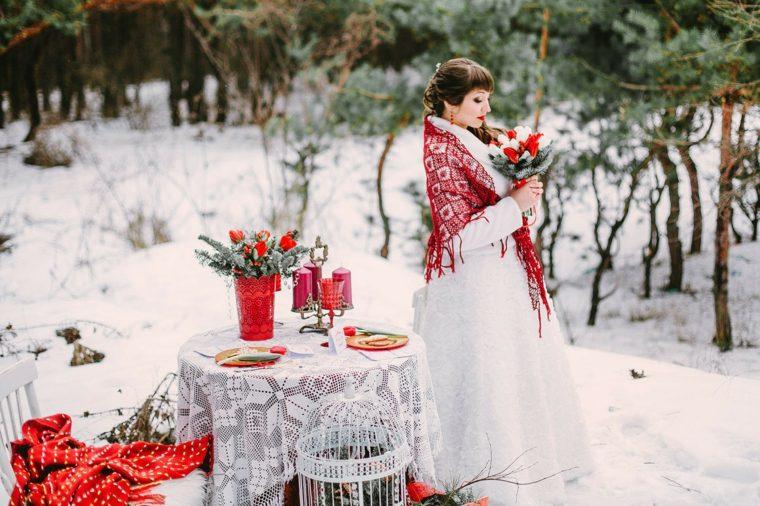 bodas originales invierno decoracion blanco rojo ideas