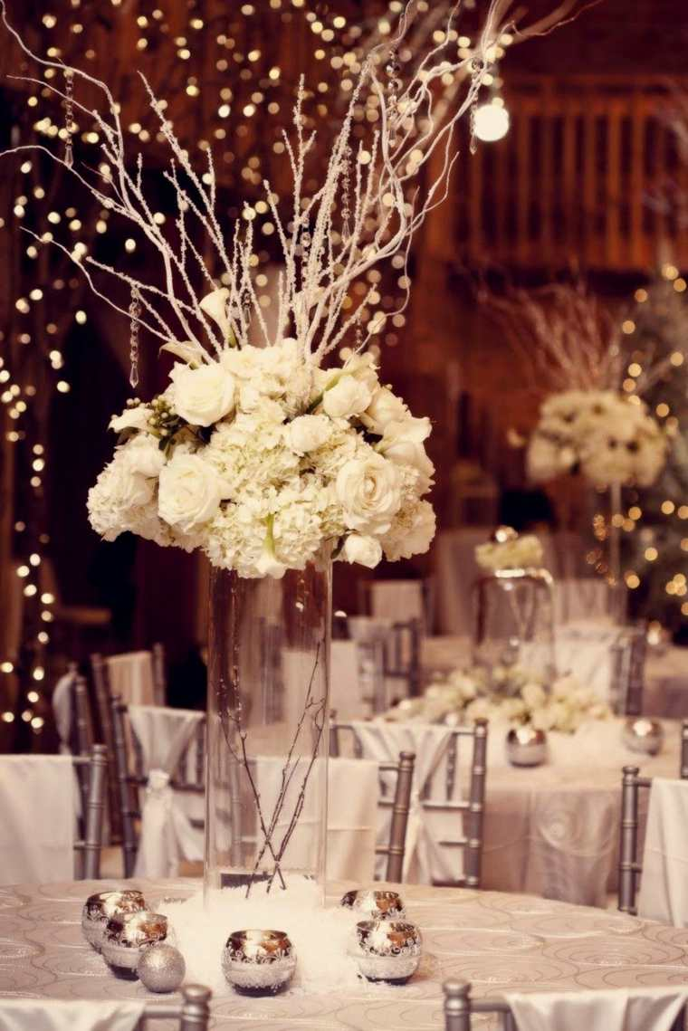 bodas originales invierno decoracion centro mesa flores ideas