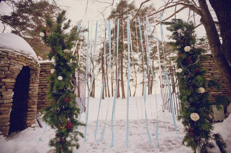 bodas originales invierno decoracion entrada ceremonia ideas