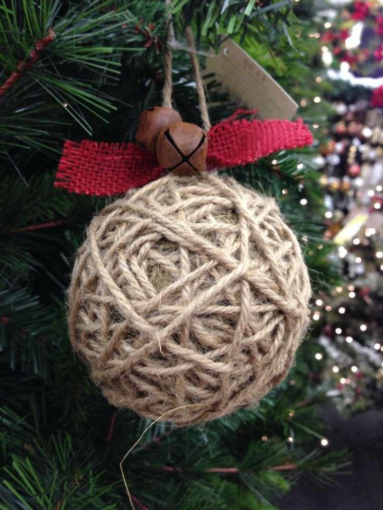 bola Navidad cuerda arpillera
