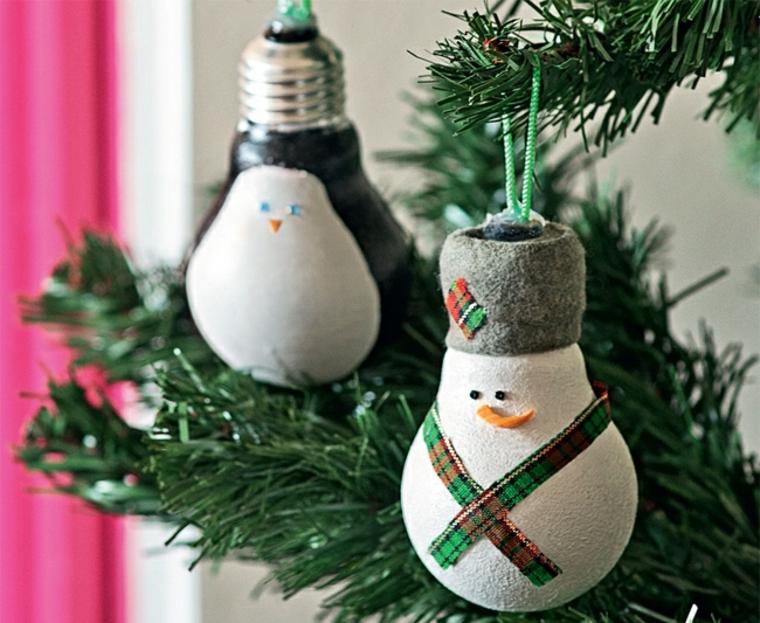 bombillas muñecos nieve colgantes