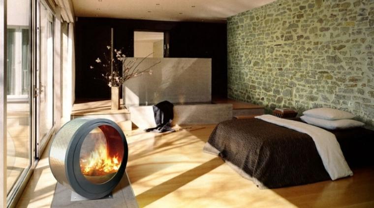 bonita habitacion chimenea redonda