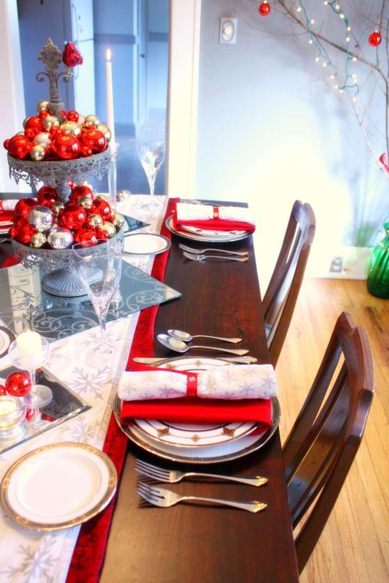 bonita mesa madera decoración navidad