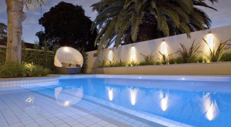 bonito jardin piscina luces Led