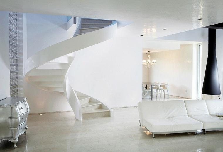 bonito salon moderno escalera blanca