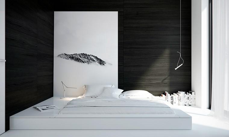 cama blanca pared negra dormitorio opciones ideas