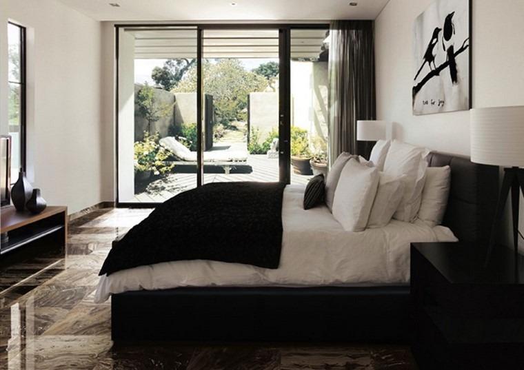 cama color negro suelo losas preciosas ideas