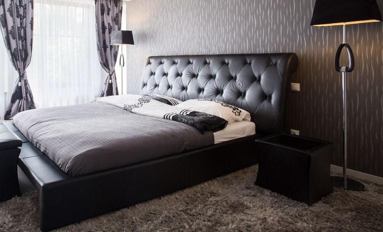 cama cuero negro dormitorio diseno opciones ideas