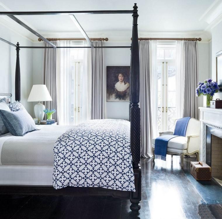 cama dosel madera negra paredes blancas ideas