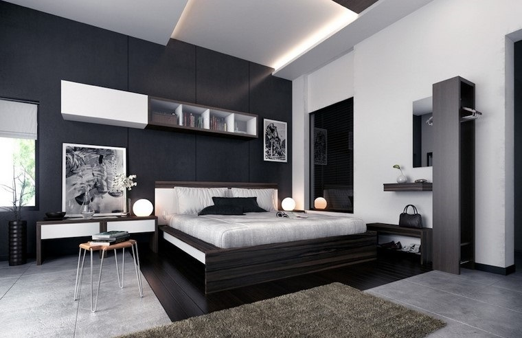 Decorar dormitorio en blanco y negro muy elegante for Diseno de dormitorio blanco