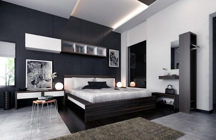 cama madera dormitorio blanco negro diseno ideas