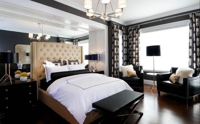 cama preciosa dormitorio blanco negro ideas