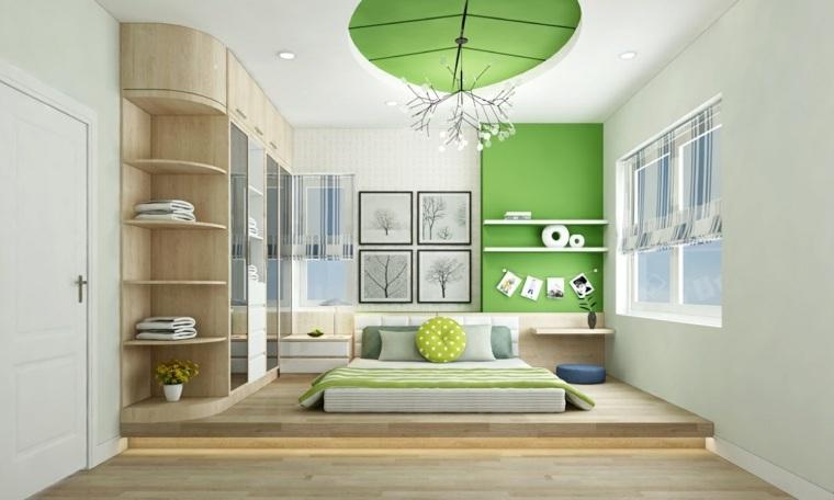 camas de matrimonio bajas color verde dormitorio ideas
