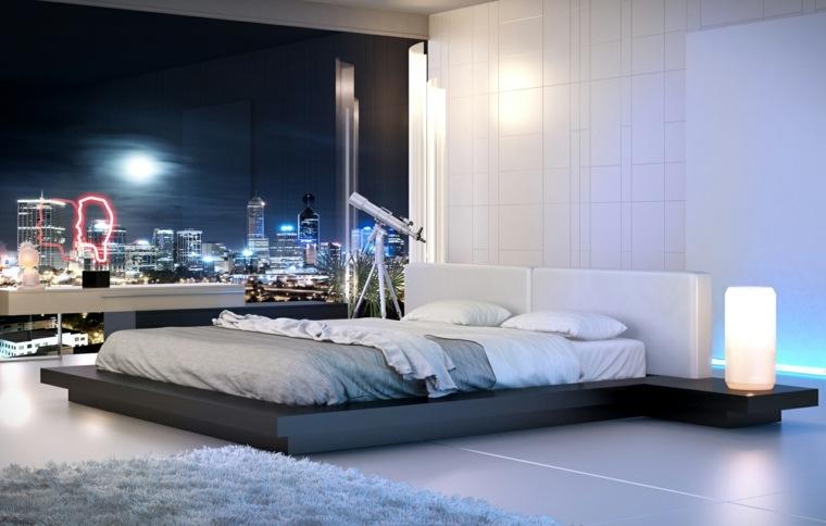camas de matrimonio bajas diseno madera negra ideas