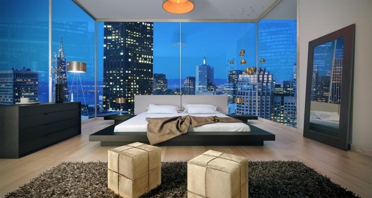 camas de matrimonio bajas madera color negro ideas