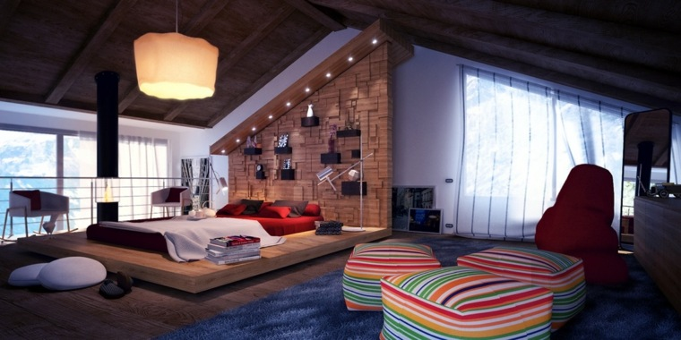 camas de matrimonio bajas plataforma cama madera ideas