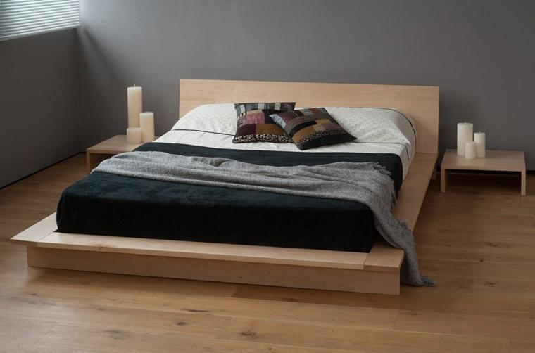 camas matrimonio bajas cama suelo madera ideas