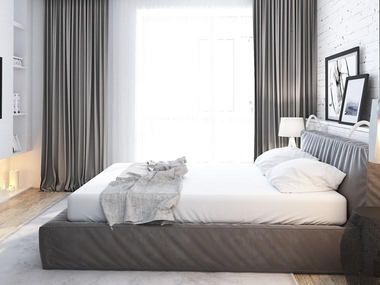 camas matrimonio bajas cortinas camas color gris ideas