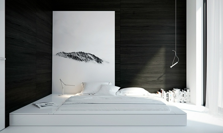camas matrimonio bajas dormitorio blanco negro ideas