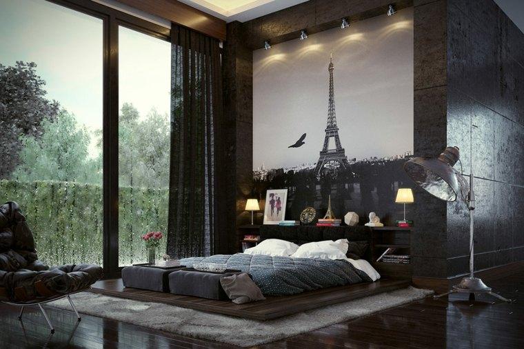 camas matrimonio bajas dormitorio oscuro ideas
