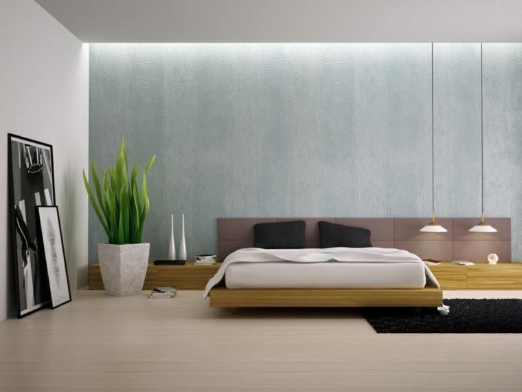 camas matrimonio bajas madera iluminacion dormitorio ideas