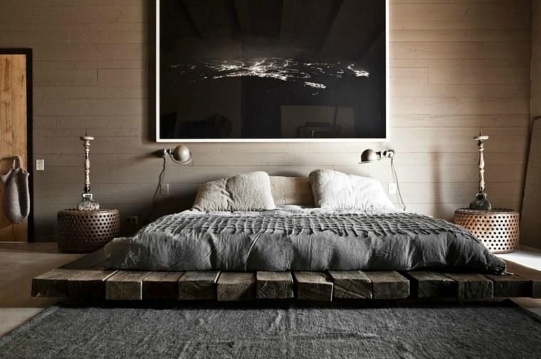 camas matrimonio bajas madera reciclada diseno ideas